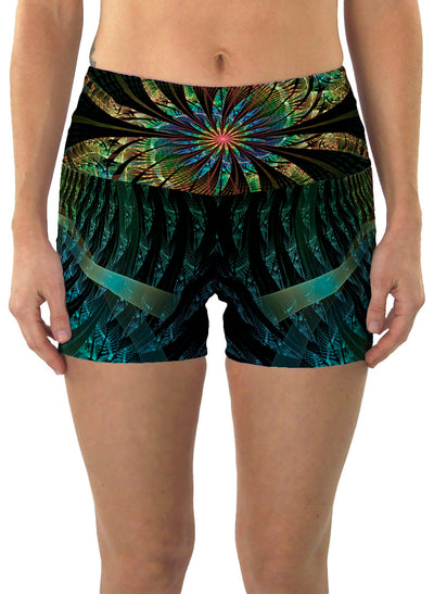 PaonPaon| Shorts | Yoga | Workout | Gym | Festival | Rave | Outfit | Clothing | High Waisted | Fold Over | Aesthetic | Psychedelic