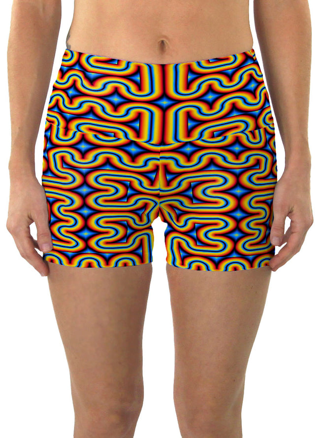 RainbowMaze| Shorts | Yoga | Workout | Gym | Festival | Rave | Outfit | Clothing | High Waisted | Fold Over | Aesthetic | Psychedelic