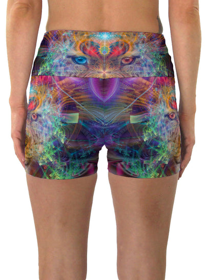 TrippinJaguar| Shorts | Yoga | Workout | Gym | Festival | Rave | Outfit | Clothing | High Waisted | Fold Over | Shaman| Ayahuasca