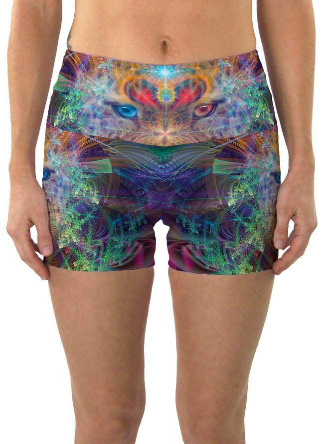 TrippinJaguar| Shorts | Yoga | Workout | Gym | Festival | Rave | Outfit | Clothing | High Waisted | Fold Over | Shaman|