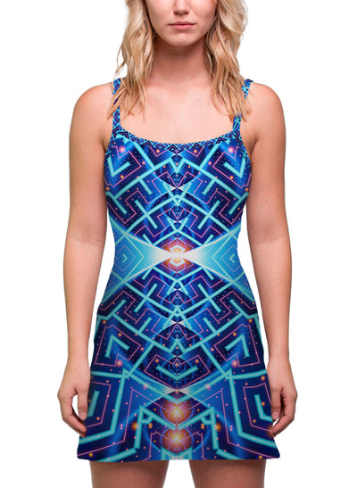Cosmo| Dress | Tank | Mini | Festival | Rave | Outfit | Clothing | Aesthetic | Eco | Hippy | Hippie | Burning Man | Psychedelic