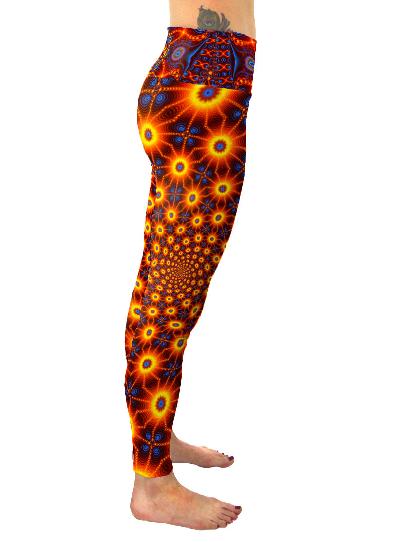 Cactivated DNA | Leggings | Pants |Yoga | Workout | Gym | Festival | Rave | Outfit | Clothing | High Waisted | Fold Over | Aesthetic | Psychedelic