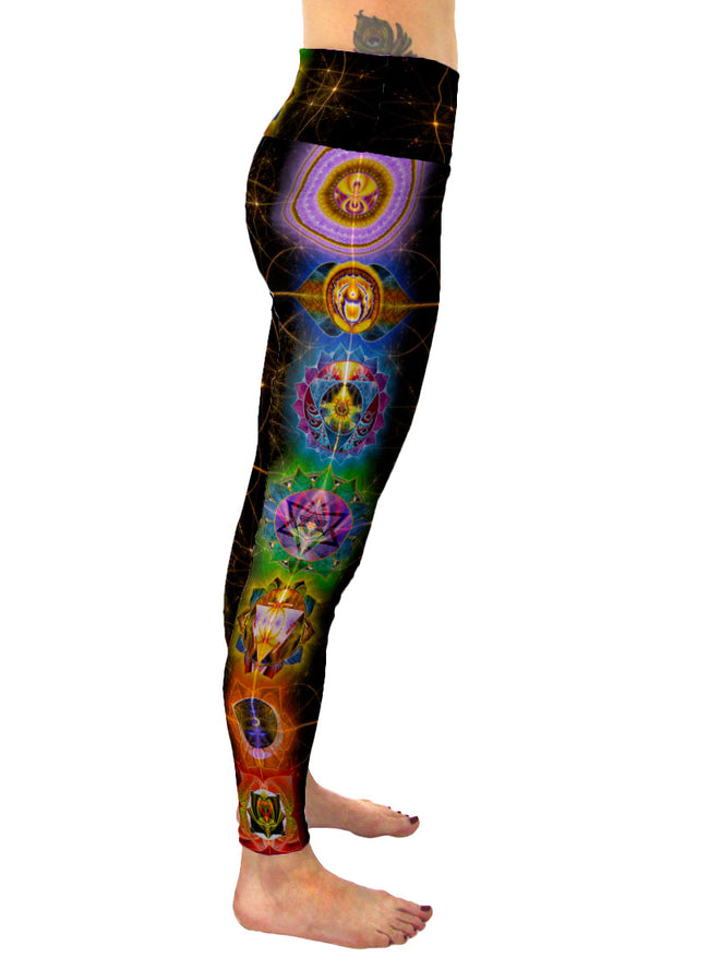 Chakra Balance| Leggings | Pants | Yoga | Workout | Gym | Festival | Rave | Outfit | Clothing | High Waisted | Fold Over | Aesthetic | Chakra