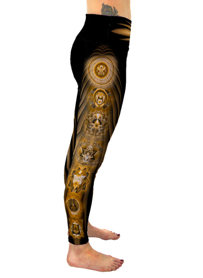 Golden Chakras | Leggings | Pants | Yoga | Workout | Gym | Festival | Rave | Outfit | Clothing | High Waisted | Fold Over | Aesthetic | Chakra