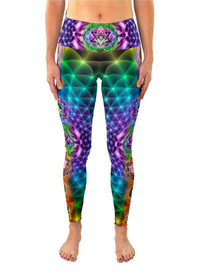 Chakras | Leggings | Pants | Yoga | Workout | Gym | Festival | Rave | Outfit | Clothing | High Waisted | Fold Over | Aesthetic | Chakra