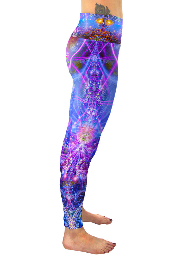 Gates of Atlantis | Leggings | Pants | Yoga | Workout | Gym | Festival | Rave | Outfit | Clothing | High Waisted | Fold Over | Aesthetic | Psychedelic
