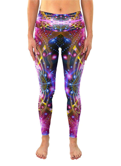 Karuna | Leggings | Pants | Yoga | Workout | Gym | Festival | Rave | Outfit | Clothing | High Waisted | Fold Over | Aesthetic | Psychedelic