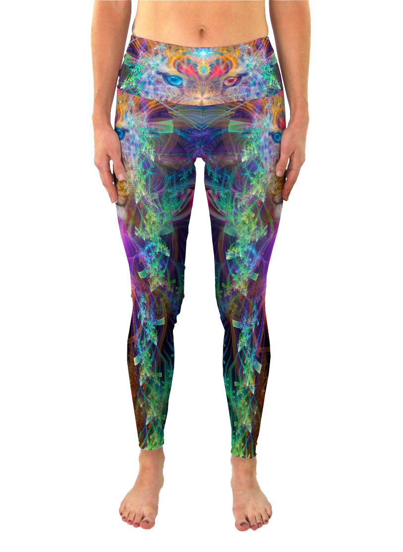 TrippinJaguar | Leggings | Pants | Yoga | Workout | Gym | Festival | Rave | Outfit | Clothing | High Waisted | Fold Over | Aesthetic | Psychedelic