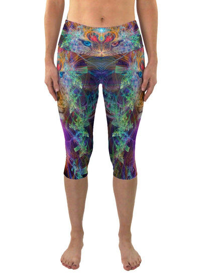 TrippinJaguar | Cropped | Leggings | Capri | Pants | Yoga | Workout | Gym | Festival | Rave | Outfit | Clothing | High Waisted | Psychedelic