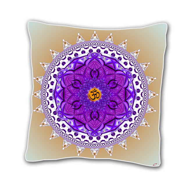 White and Purple 18 x 18 Inch Throw Pillow Cover