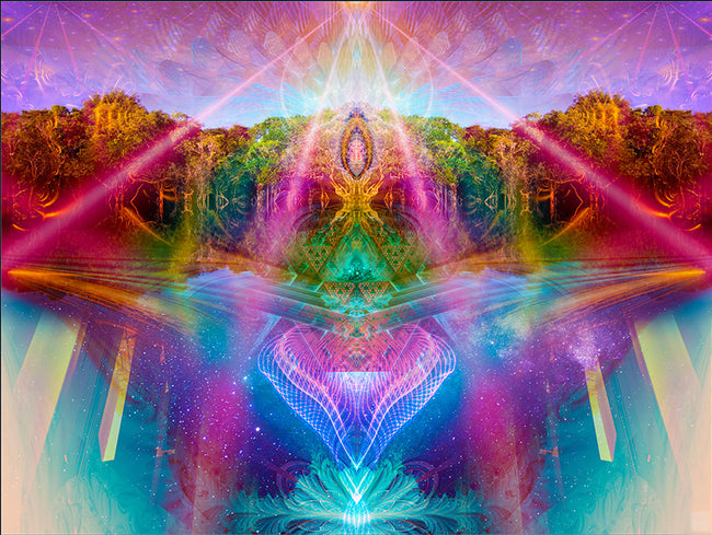 Agartha Cosmic Art Print | Canvas | Gaia | Meditation | Spiritual | Earth | Visionary | Psy | Art