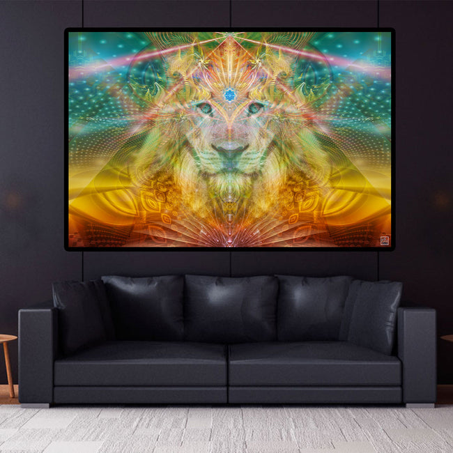 Lion Tapestry | Leo Wall Hanging | Sacred Masculine | Atlan The King
