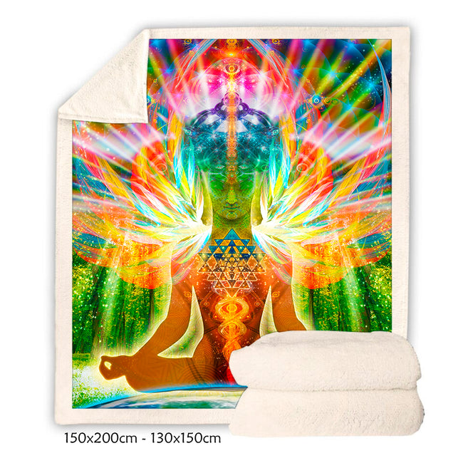 Meditation Throw Blanket | Sherpa Fleece Blanket | Buddha Birth