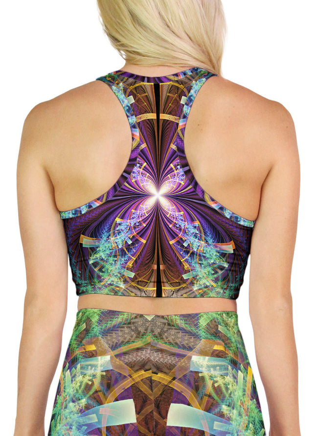 Psychedelic Crop | Top | Racerback | Yoga | Rave | Festival | Feather Wings