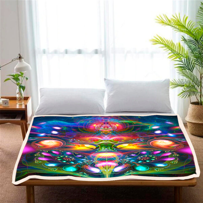 Psychedelic Fleece Blanket | Trippy Sherpa Blanket | Dimitri The Frog