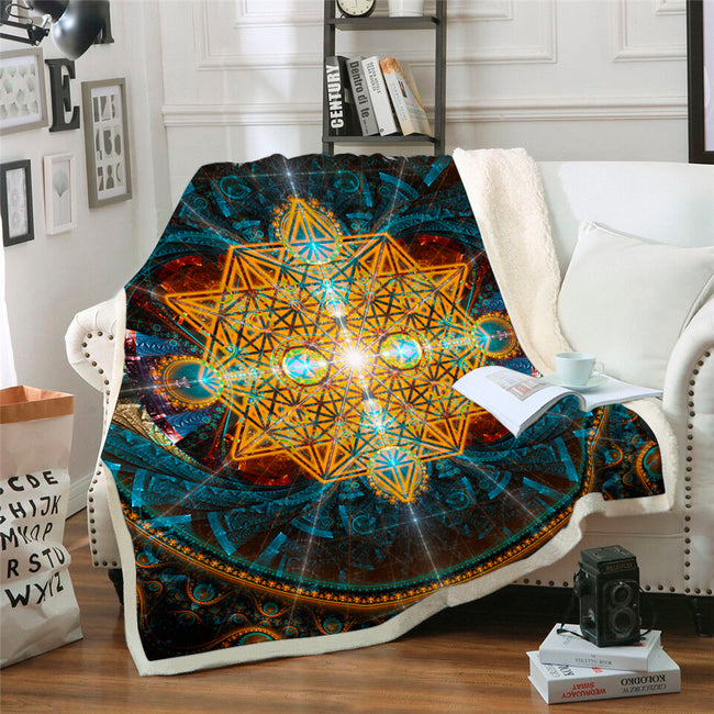 Sacred Geometry Throw Blanket | Sherpa Fleece Blanket | Equilibrium
