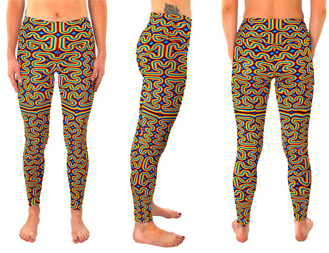 RainbowMaze | Leggings | Pants | Yoga | Workout | Gym | Festival | Rave | Outfit | Clothing | High Waisted | Fold Over | Aesthetic | Psychedelic