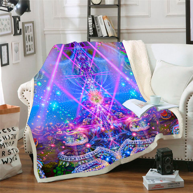 Trippy Throw Blanket | Psy Sherpa Fleece Blanket | Gates of Atlantis