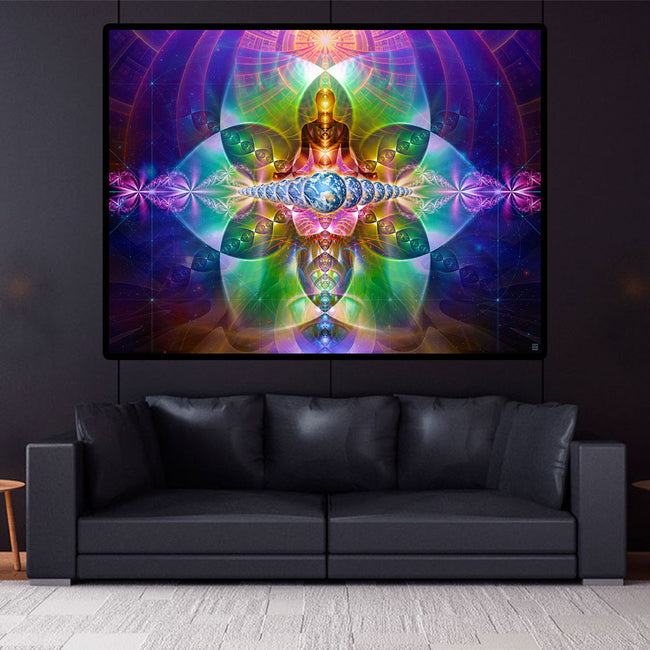 Spiritual Wall Art | Conscious Earth Tapestry | Meditation | Gaiasension