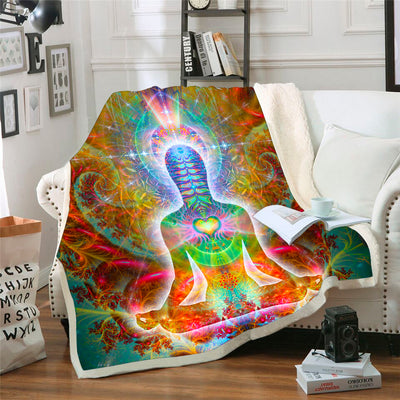 Heart Chakra Throw Blanket | Meditation Fleece Blanket | HeartSoul