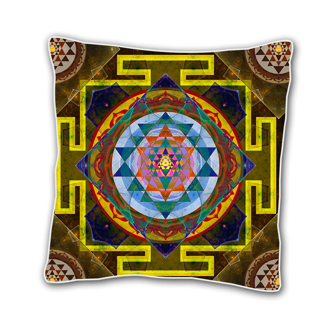 Sri Yantra Meditation Cushion cover | 18 x 18 Throw Pillow Cover | Handmade | Puma Yantra