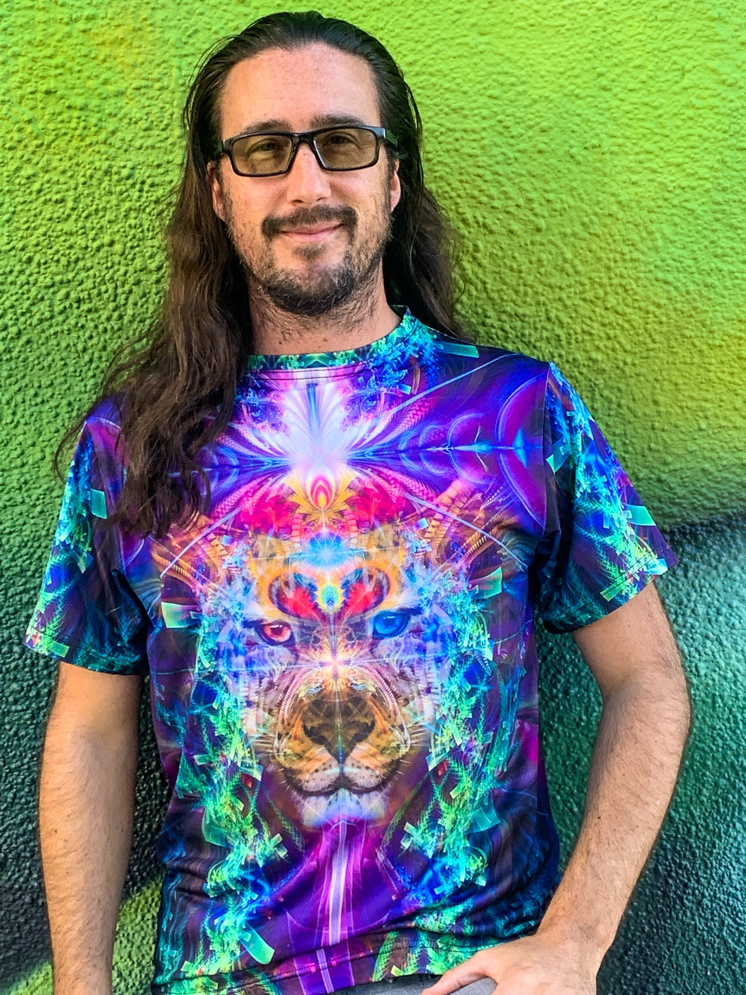 Psychedelic  Mens T-Shirt | Shaman Jaguar Animal Totem | TrippinJaguar