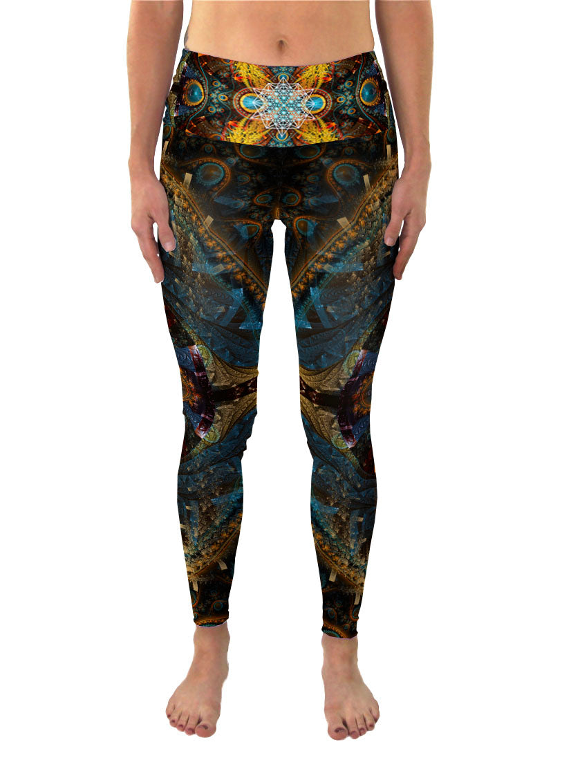 Sacred Geometry Eco Yoga Leggings | Festival Rave Pants | StarMatrix