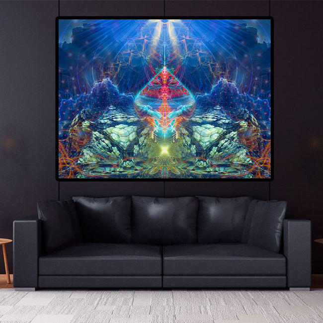 Visionary Art Wall Hanging | Spritual Tapestry | Lemurian Artefact