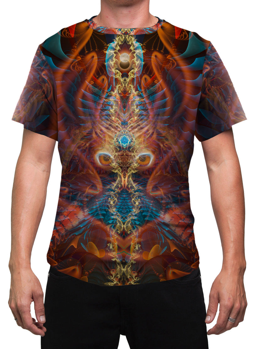 DarkMoon | Mens T-Shirt | Clothing | Rave | Aesthetic | Yoga | Festival | Shaman | Psychedelic | Gift | For Him | Animal Totem | Owl