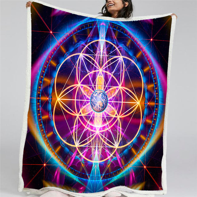 Flower of Life Throw Blanket | Sacred Geometry Fleece | New Earth