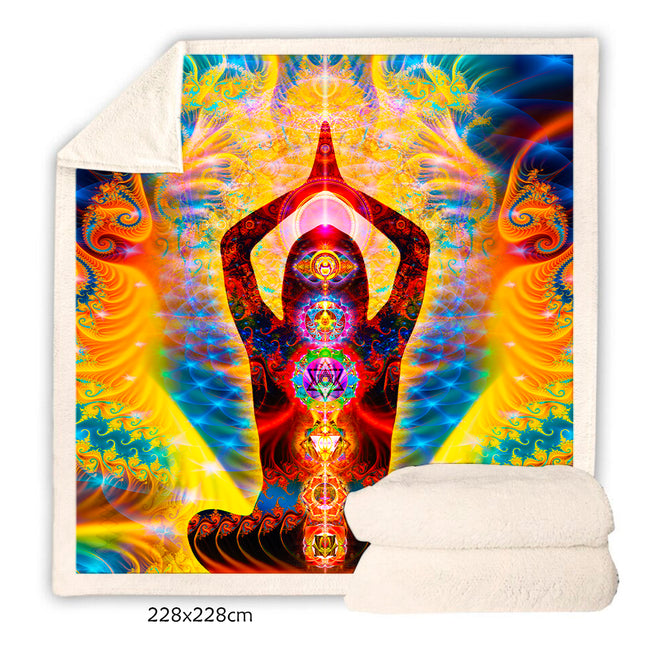 Chakras Throw Blanket | Meditation Fleece Blanket | Cosmic Body