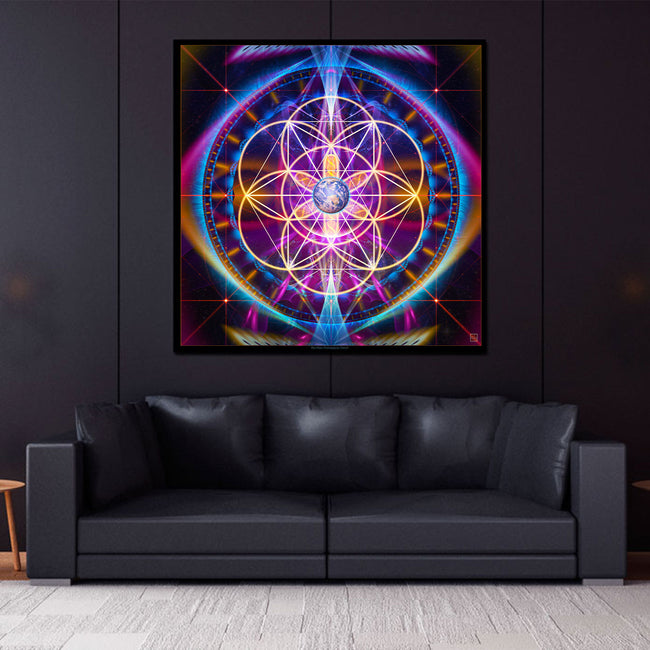 New Earth Mandala Art Print | Canvas |Sacred Geometry | Meditation | Yoga | Spiritual | Healing | Art | Gaia