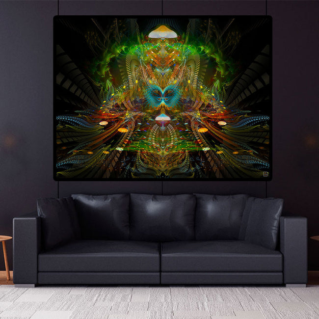 Shamanic Psychedelic Tapestry | Mushroom Wall Hanging | PsylociBe