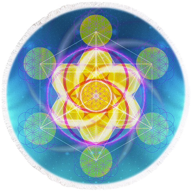 Round Sacred Geometry Beach Towel