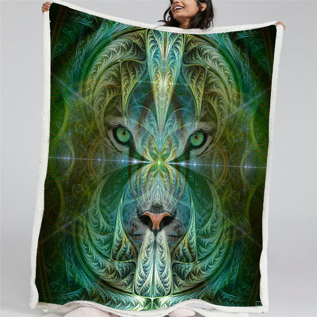 White Tiger Throw Blanket | Sherpa Fleece Blanket | Animal Totem | Sinha