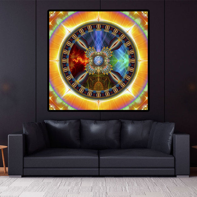 Shamanic Wheel of Life Tapestry | Gaia Wall Hanging | Seed of Light