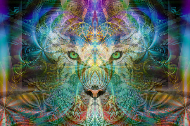 White Tiger Sinha The Warrior Poster | Art Print | Meditation | Spiritual | Visionary | Conscious | Yoga| Healing | Totem | Art