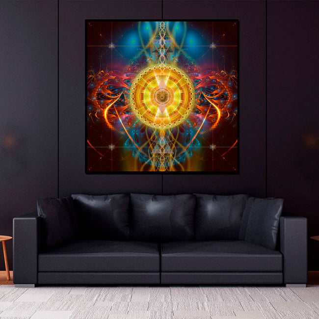 Sun Mandala Tapestry | Sacred Geometry Wall Hanging | Sun Matrix