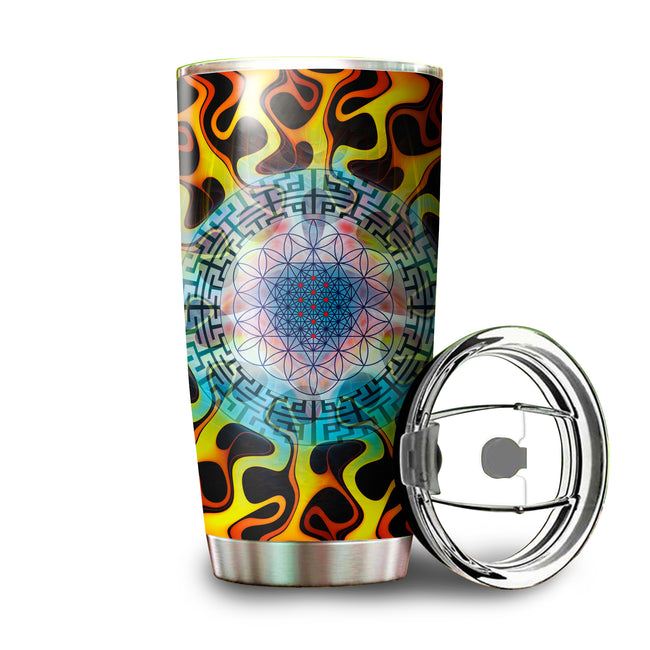 Sacred Geometry Tumbler | Stainless Steel Tumbler | Insulated Travel Mug | StarCodes