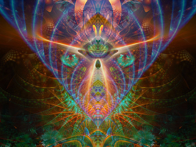 The Emerald Eyes Cosmic Art Print | Canvas | Spiritual| Meditation | Visionary | Healing | Consciousness| Art
