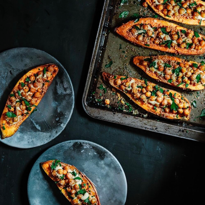 Chickpea & Couscous Sweet Potato Boats