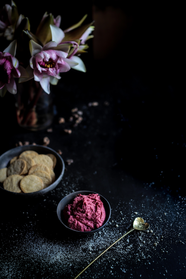 Beetroot hummus dip recipe by Karen Fischer