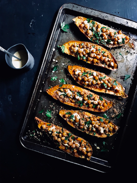 Chickpea couscous sweet potato boats recipe