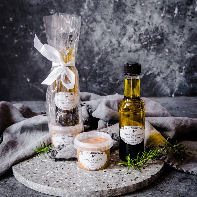 Balsamic Vinegar and Olive Oil Dipping Sauce with an Aromatic Dukkah - Tasmanian Gourmet Online