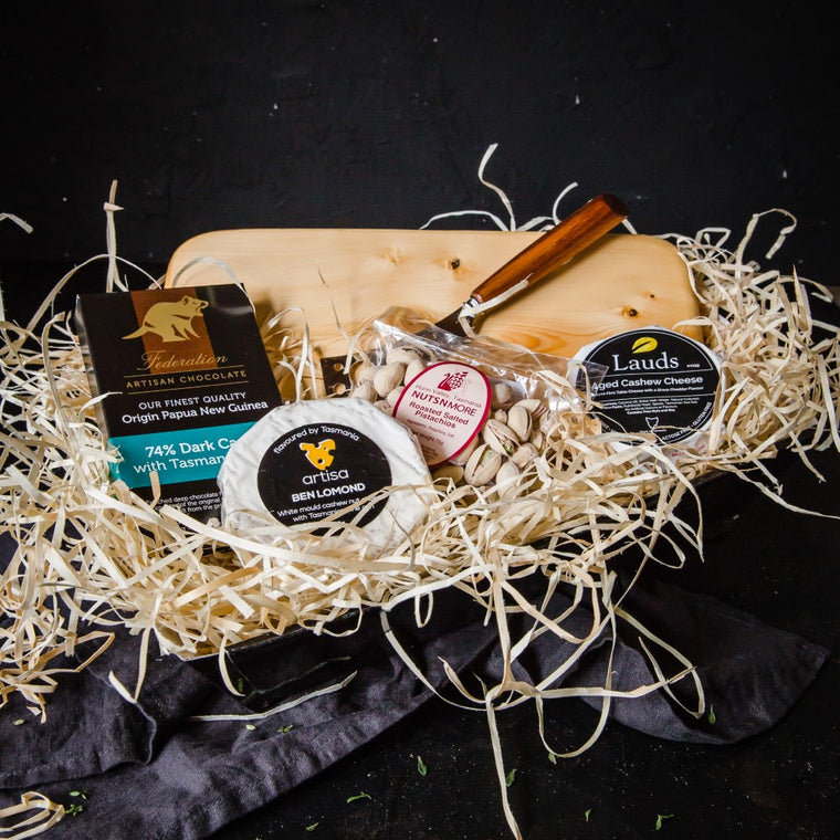 Tasmanian Vegan Cheese Gift with Huon Pine Cheese Board - Tasmanian Gourmet Online