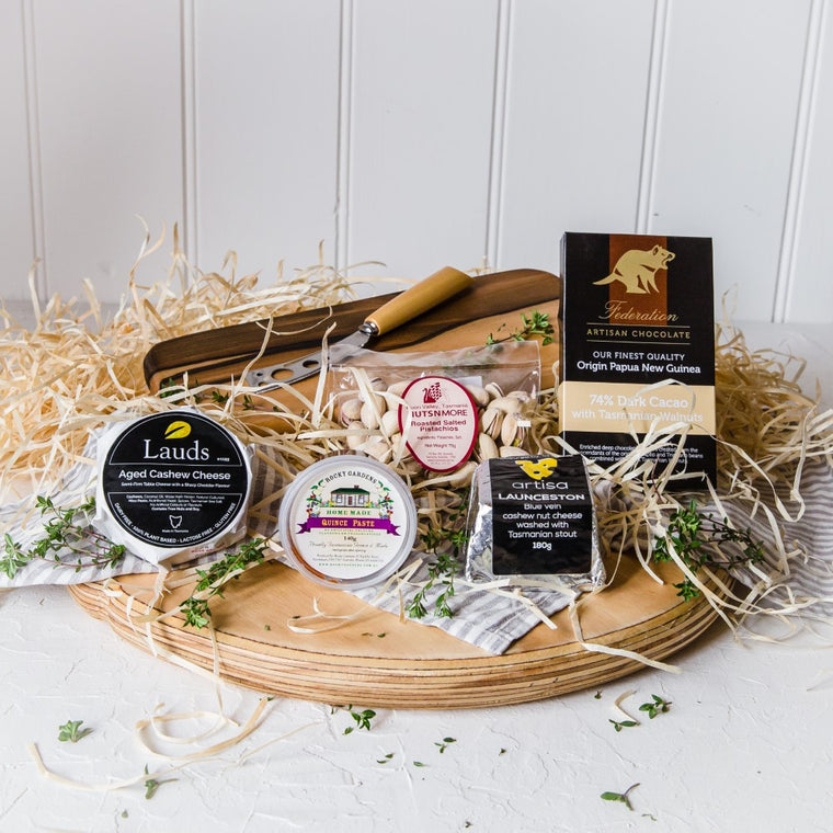 Tasmanian Vegan Cheese Christmas Gift with a Sassafras Cheese Board - Tasmanian Gourmet Online
