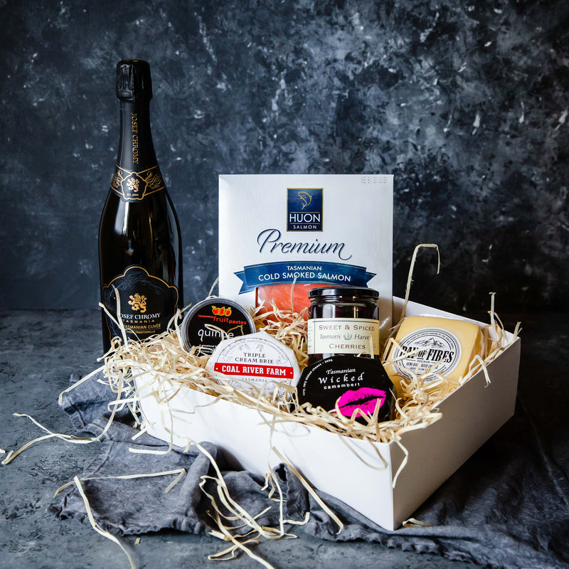 Tasmanian Cheese and Salmon Picnic Platter with Sparkling Wine
