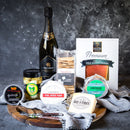 Tasmanian Cheese Platter with Salmon and Sparkling Wine and Condiments
