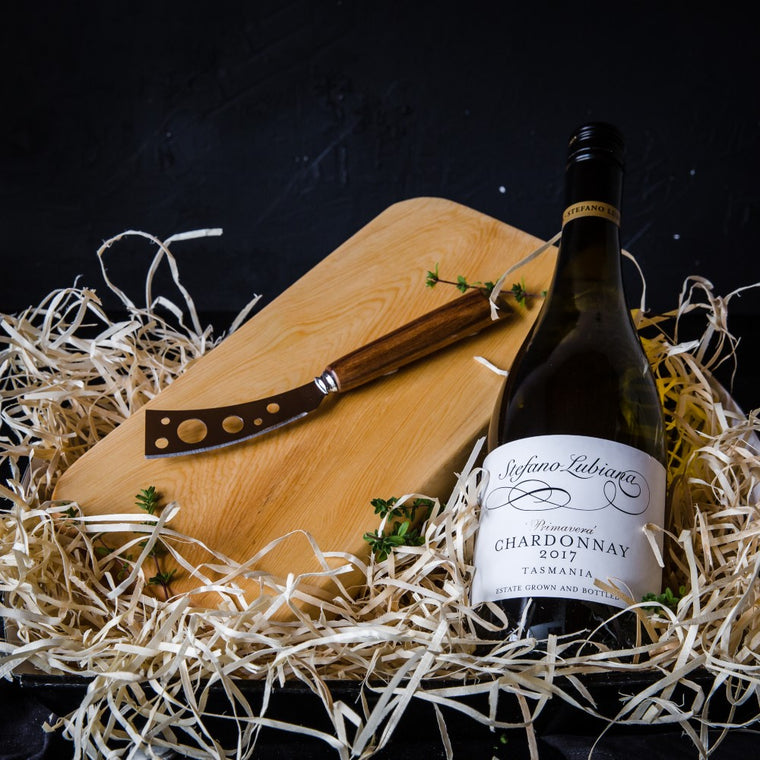 Vegan Wine with Huon Pine Cheese Board and Blackwood Knife