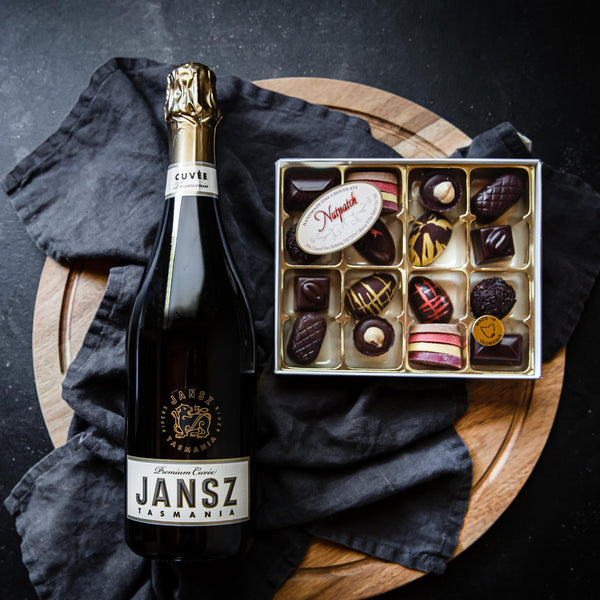 Vegan Tasmanian Handmade Chocolates and Jansz Sparkling Vegan Wine